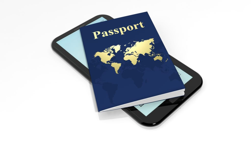 Picture with passport and smartphone